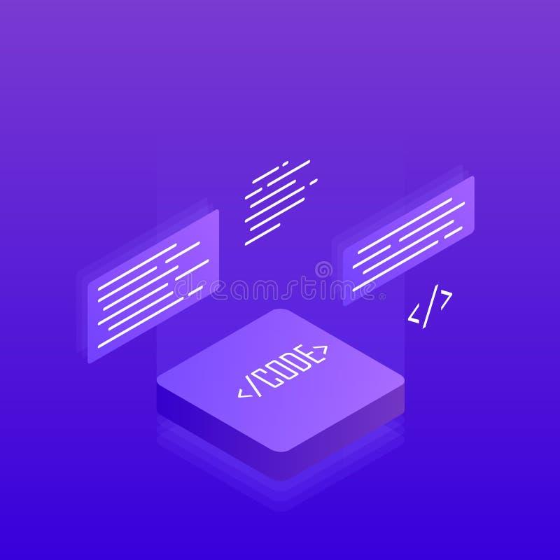 Software-ontwikkeling en programmering, Grote gegevens - verwerking 3d isometrisch vlak ontwerp Moderne vectorillustratie vector illustratie