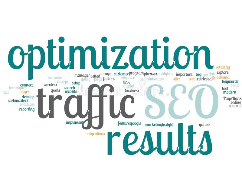 SEO Search Engine Optimization - Word Cloud royalty free illustration