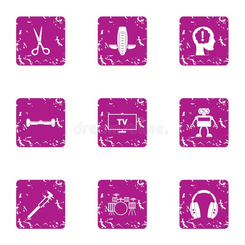 Software program icons set, grunge style. Software program icons set. Grunge set of 9 software program vector icons for web isolated on white background vector illustration