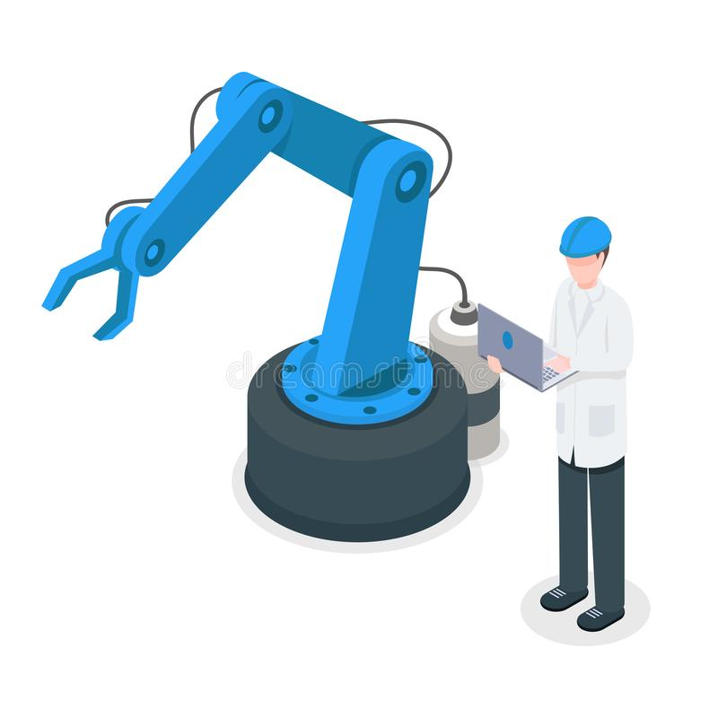 Software programmer controlling robotic factory crane. Programmed industrial machinery, assembly line technology stock illustration