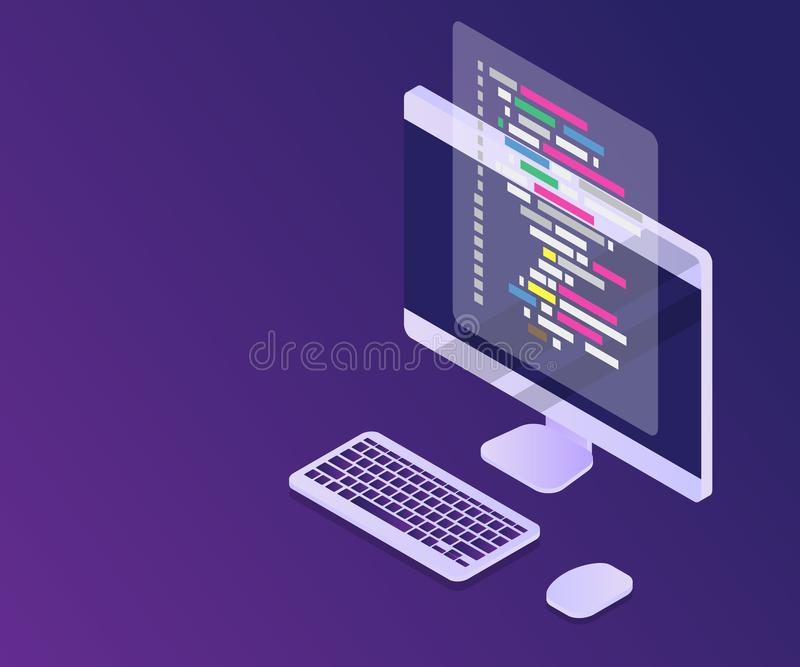 software programming coding concept, code with computer mornitor stock illustration