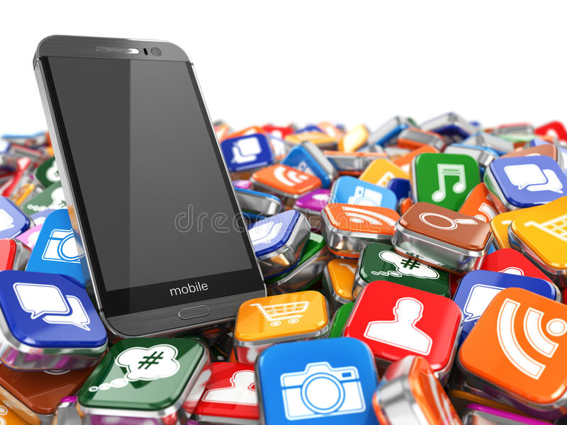 Software. Smartphone or mobile phone app icons background. 3d royalty free illustration