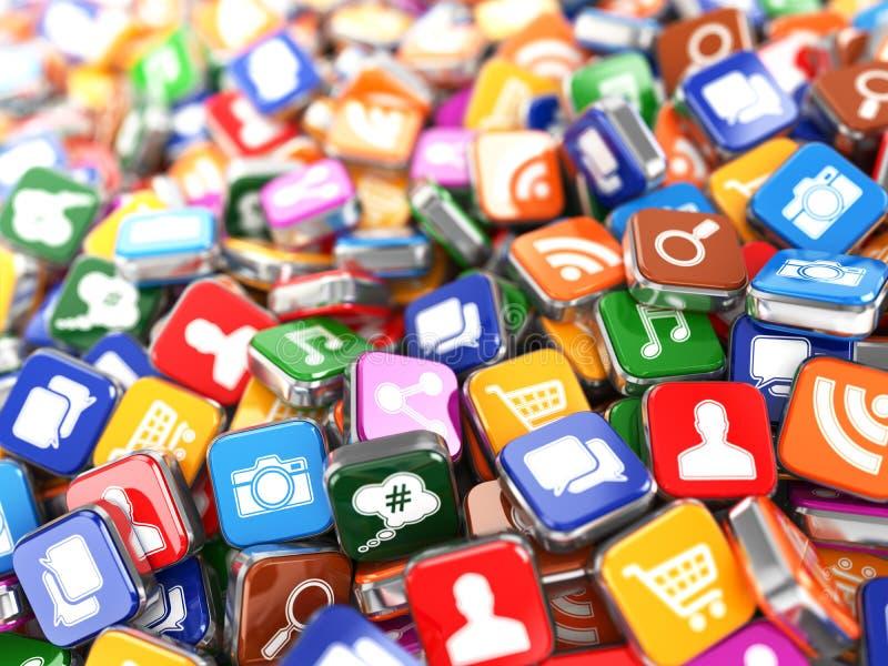 software Smartphone ou ícone do app do telefone celular ilustração royalty free