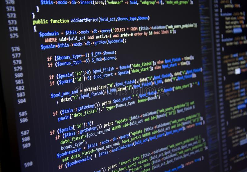Software source code. Freeware open source project. Developing programming and coding technologies. Software source code. CSS, Jav stock photography