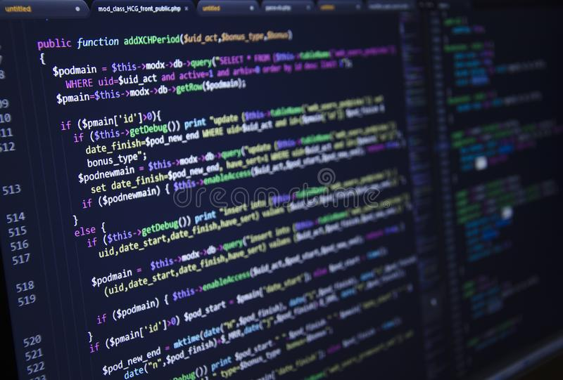 Software source code. Freeware open source project. Developing programming and coding technologies. Software source code. CSS, Jav royalty free stock images