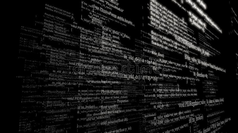 Software source code. Layers of program code on black background royalty free stock photos