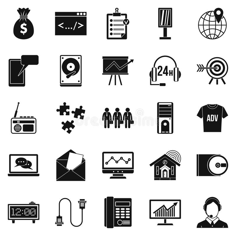 Software system icons set, simple style. Software system icons set. Simple set of 25 software system vector icons for web isolated on white background vector illustration