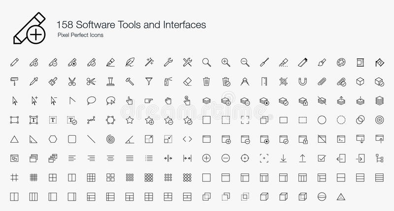 158 Software Tools Interfaces Pixel Perfect Icons (line style). No matter what kind of app you are building, the Software Tools and Interfaces icon set plays a vector illustration