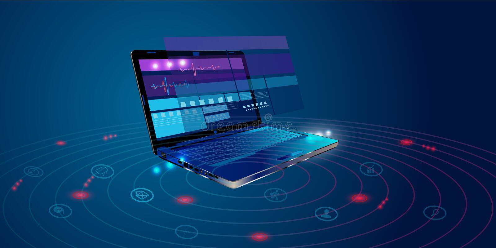 Software, web development, programming concept. Abstract Programming language and program code on screen laptop. Laptop and icons stock illustration