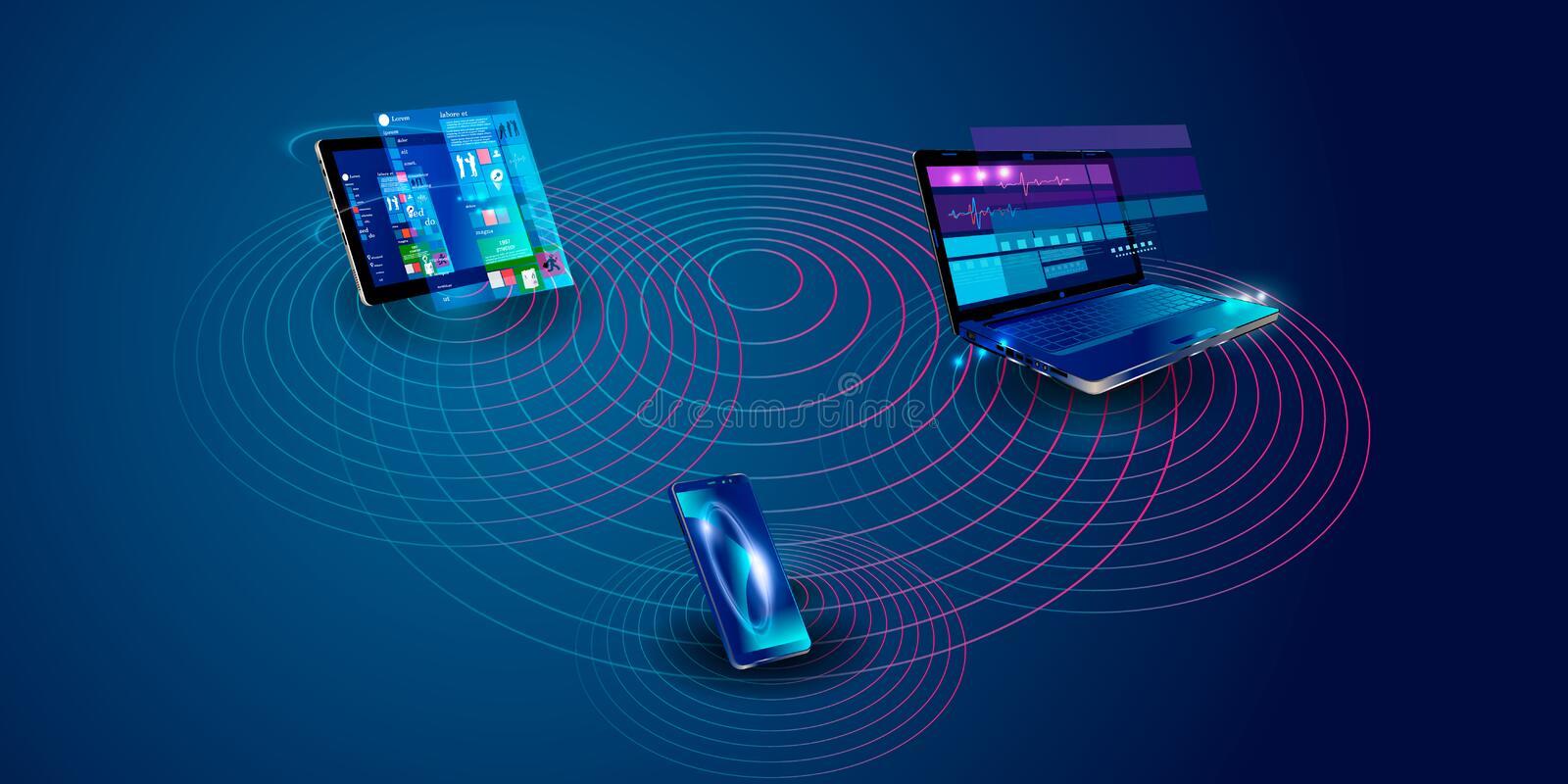 Software, web development, programming concept. Abstract Programming language and program code on screen laptop. Laptop and icons vector illustration