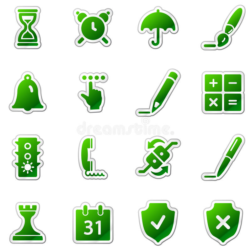 Download Software Web Icons, Green Sticker Series Stock Vector - Image: 11818995