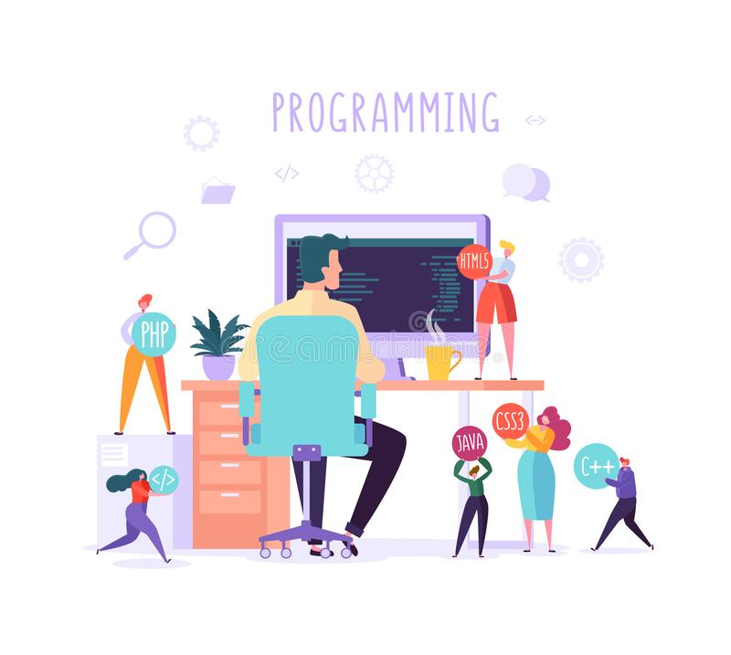 Software and Web Page Programming Concept. Programmer Character Working on Computer with Code on Screen. Freelancer. Workplace Coding. Vector illustration stock illustration