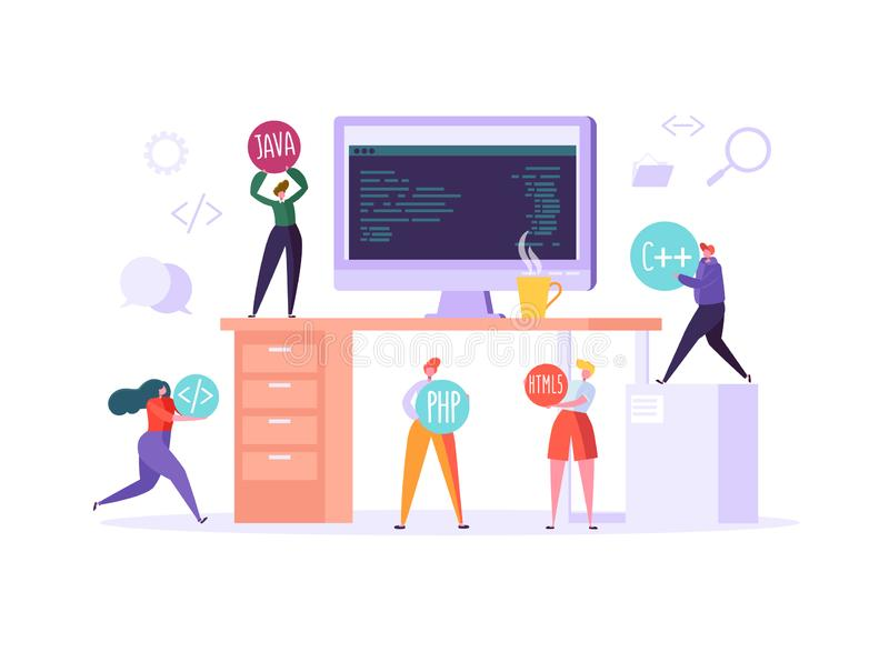 Software and Web Page Programming Concept. Programmer Characters Working on Computer with Code on Screen. Freelancer Workplace Coding. Vector illustration vector illustration
