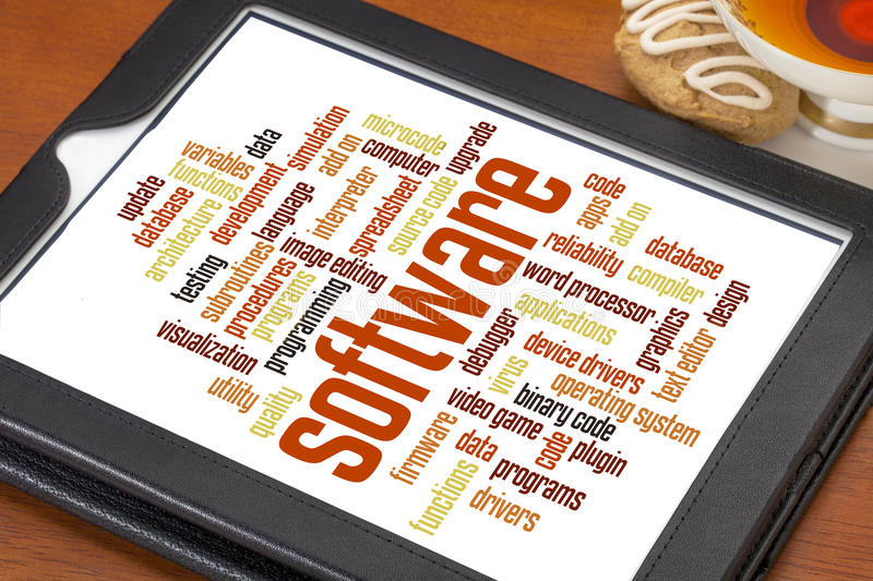 Software word cloud stock image