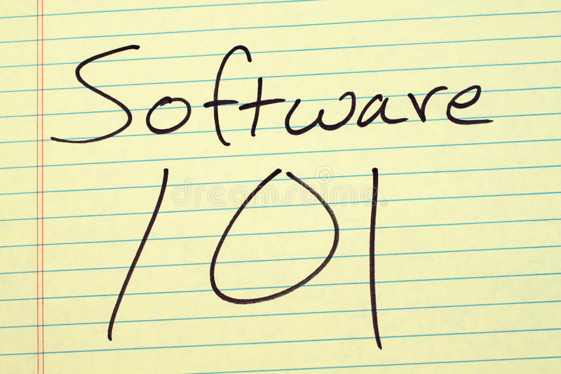 Software 101 On A Yellow Legal Pad royalty free stock images