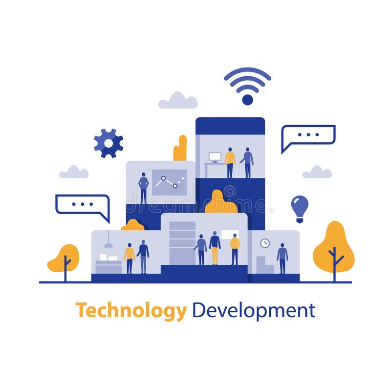 Softwarebedrijf, technologische ontwikkeling, innovatieve oplossing, bedrijfsbureau, het proces van het productontwerp, creatief  vector illustratie