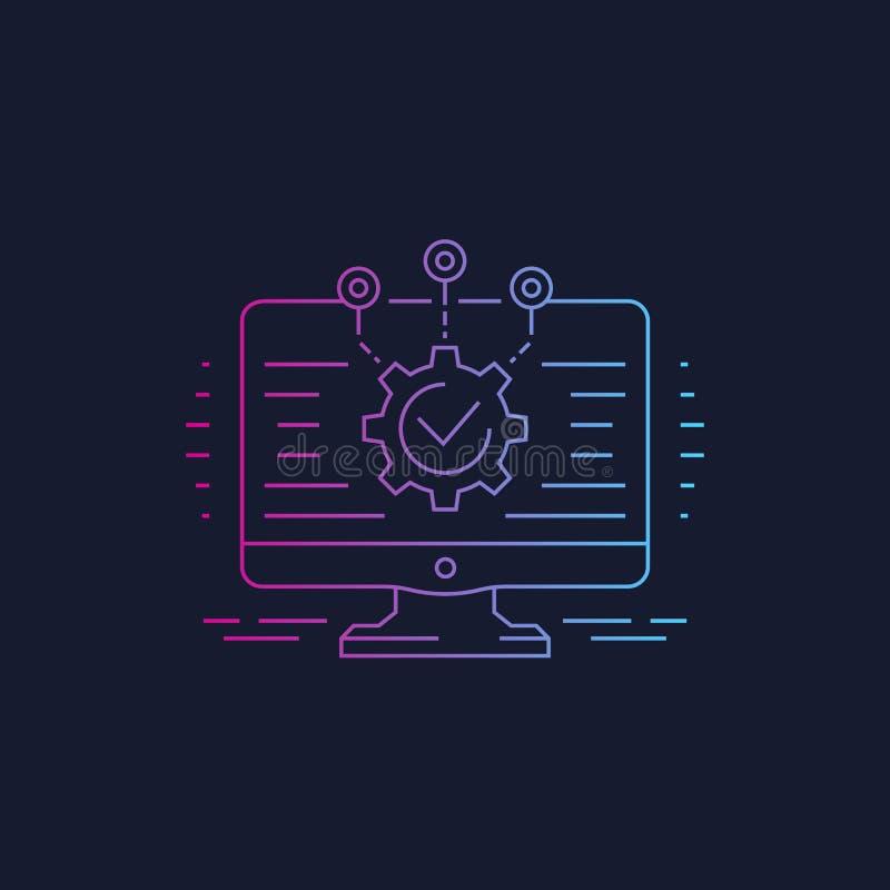 Softwareentwicklung, lineare Ikone der Integration lizenzfreie abbildung