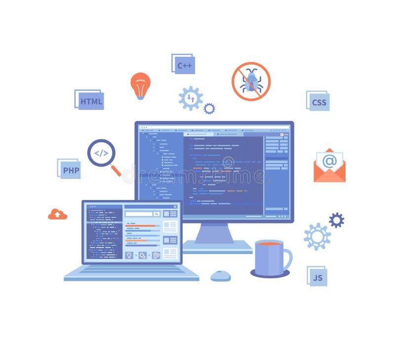 Softwareentwicklung und Programmierung Statistiken, Appentwicklung, Datenanalyse Programmcode auf Laptop und Bildschirm stock abbildung