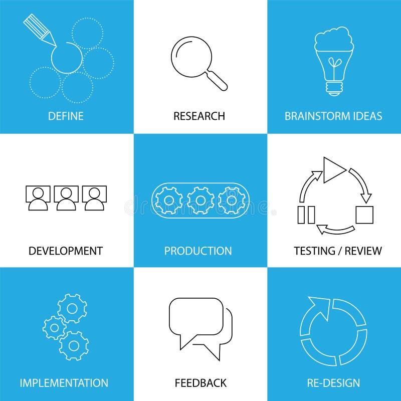 Softwaretechnologie, project planningsproces - conceptenvector vector illustratie