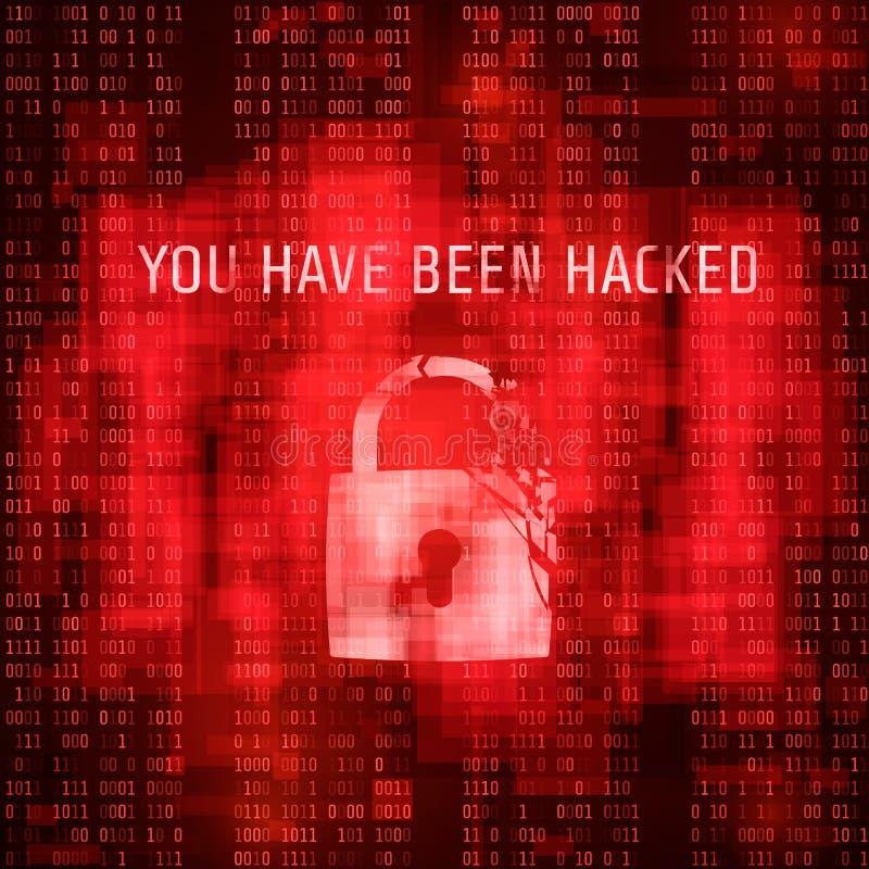 Sofware hacking. Massage system has been hacked. Red random binary code background. Vector illustration.  vector illustration