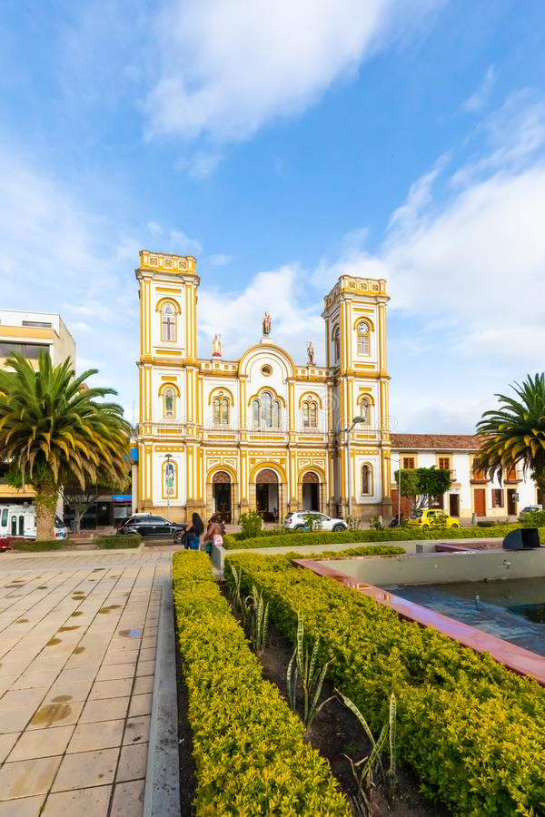Colombia Sogamoso  Saint Martin of Tours cathedral at sunset. Sogamoso, Colombia  May 23 Vertical view of Saint Martin Church and Park in Sogamoso village royalty free stock image