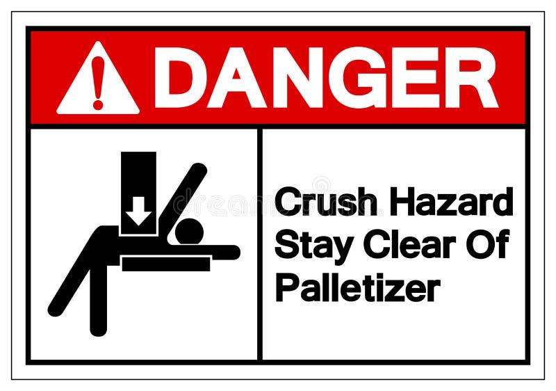 Soggiorno di rischio di schiacciamento del pericolo chiaro del segno di simbolo di Palletizer, illustrazione di vettore, isolata  illustrazione di stock