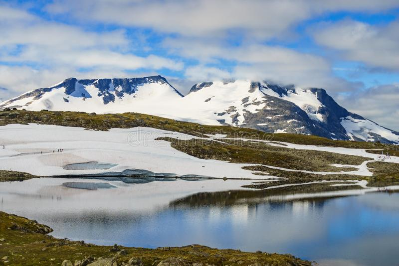 Sognefjellet越野滑雪,挪威 免版税图库摄影