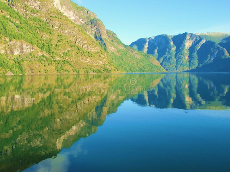 Sognefjord Reflections. View from cruise on the Sognefjord from Flam, Norway stock photos