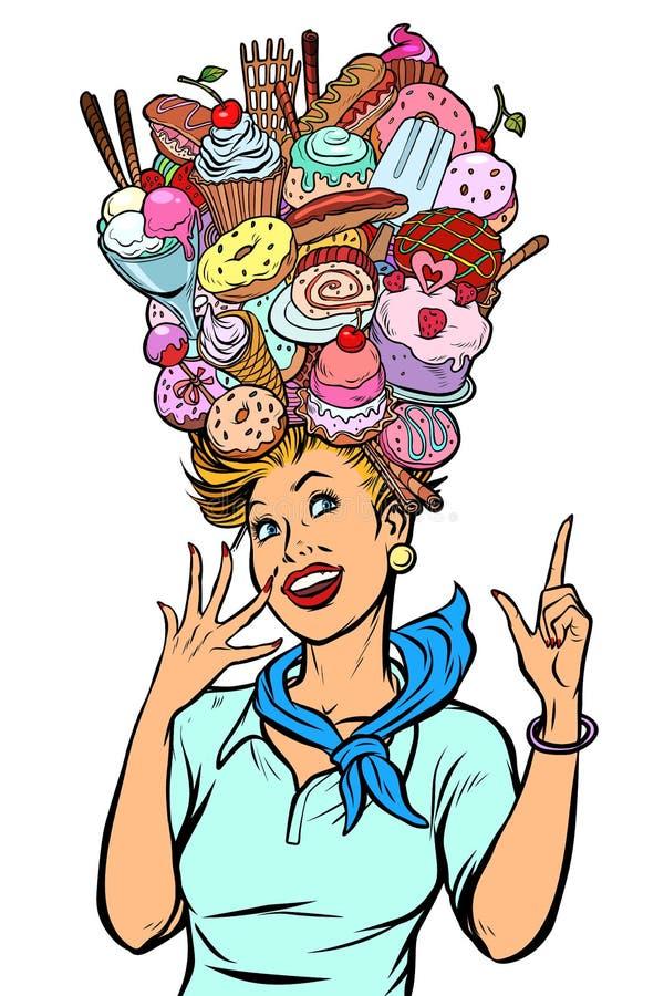Sogni della donna dell'hostess del dolce illustrazione vettoriale