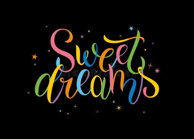 Sogni dolci Calligrafia disegnata a mano variopinta iscrizione immagini stock