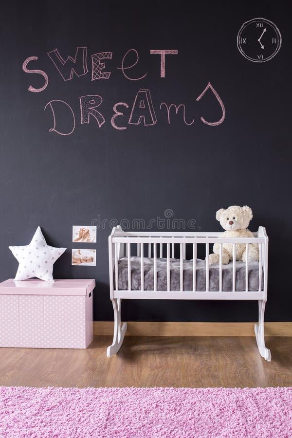 Sogni dolci che scrivono sulla parete della lavagna fotografia stock