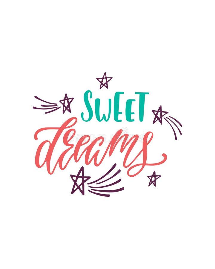 Sogni dolci Frase di ispirazione con le stelle, comete Progettazione disegnata a mano di tipografia illustrazione di stock
