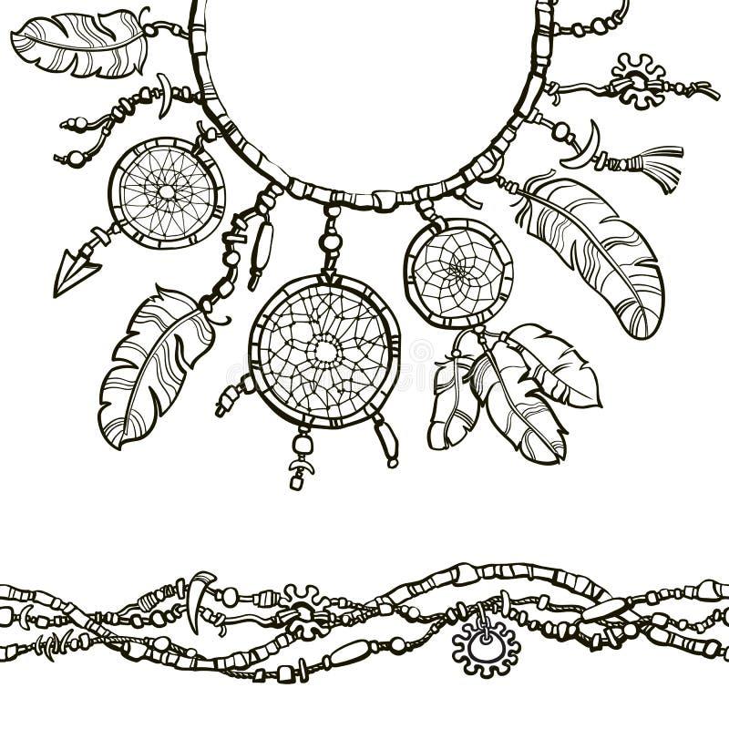 Sogni il collettore Confine senza cuciture fatto dalle perle Decorazione di stile di Boho illustrazione vettoriale