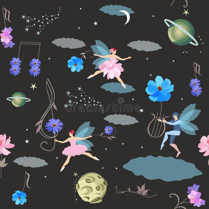 sogni Modello senza cuciture di fantasia con i fatati ed elfo alato, lira, chiave tripla e note musicali nella forma dei fiori illustrazione di stock