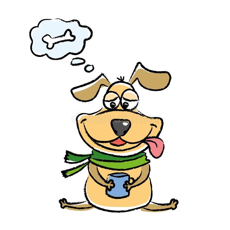 Sogni pazzi del cane di un osso delizioso, isolati su backgroun bianco illustrazione vettoriale