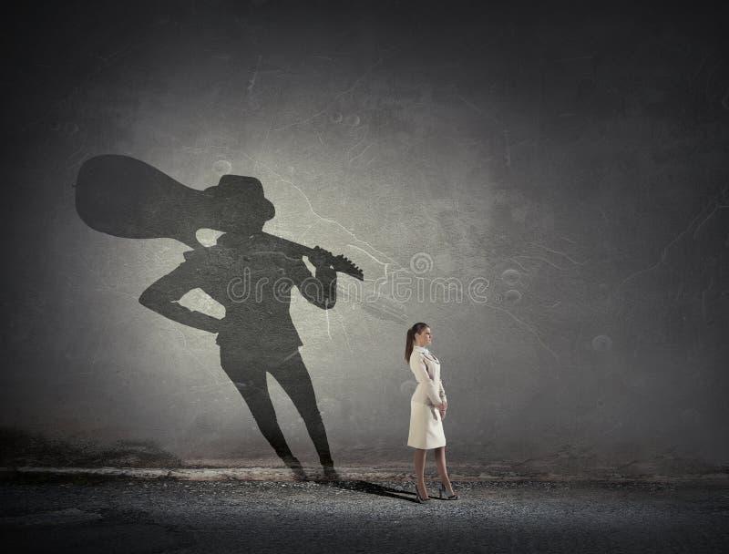 Sogno da essere musicista Media misti fotografia stock