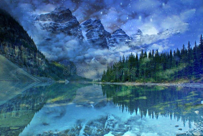 Sogno del lago moraine, Banff royalty illustrazione gratis