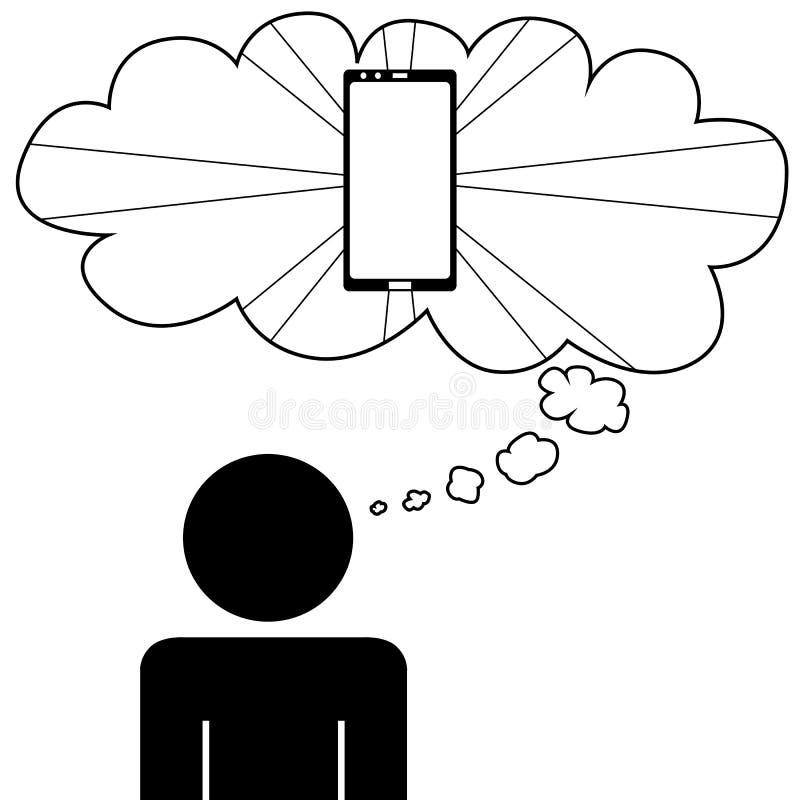 Sogno dell'uomo per avere un telefono royalty illustrazione gratis