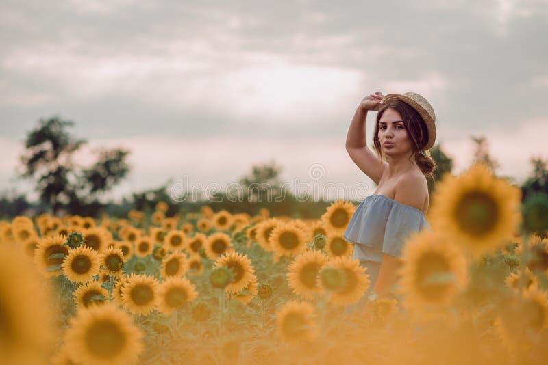 Sogno della giovane donna in vestito blu che tiene un cappello in un campo dei girasoli all'estate, vista frontale Guardando al l immagini stock libere da diritti