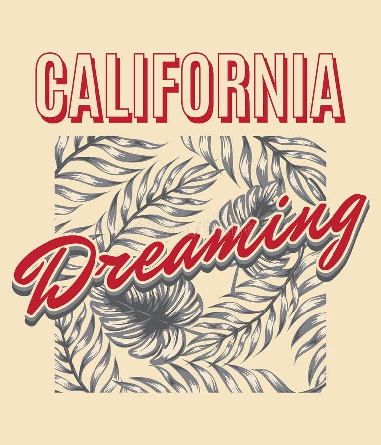 Sogno di California Illustrazione disegnata a mano di vettore delle foglie di palma royalty illustrazione gratis
