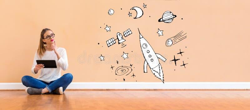 Sogno di spazio e del razzo con la donna che per mezzo di una compressa illustrazione vettoriale