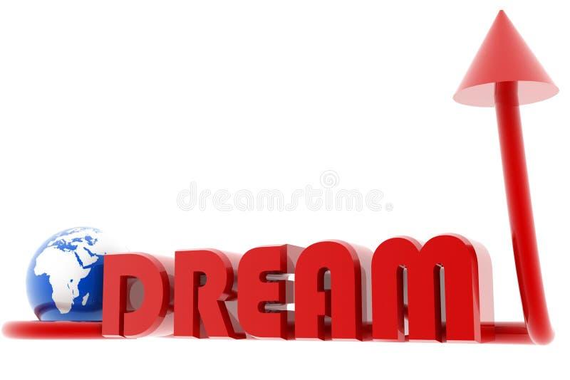 Sogno e mondo con la freccia illustrazione vettoriale