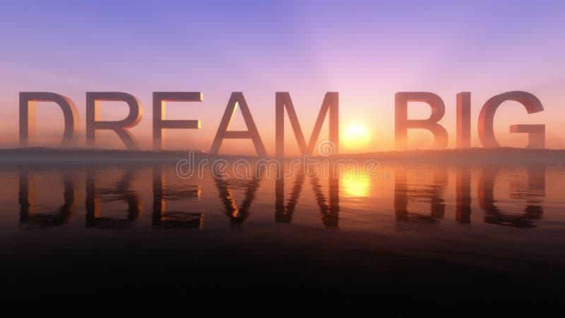 Sogno grande sull'orizzonte epico di tramonto del lago royalty illustrazione gratis