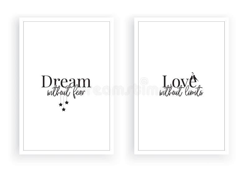Sogno senza paura, amore senza limiti, vettore, design minimalista dei due manifesti isolato su fondo bianco illustrazione di stock
