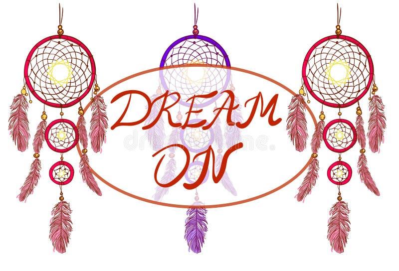 SOGNO su iscrizione e sui dreamcatchers Illustrazione disegnata a mano di vettore Collettori di sogno magenta e porpora royalty illustrazione gratis