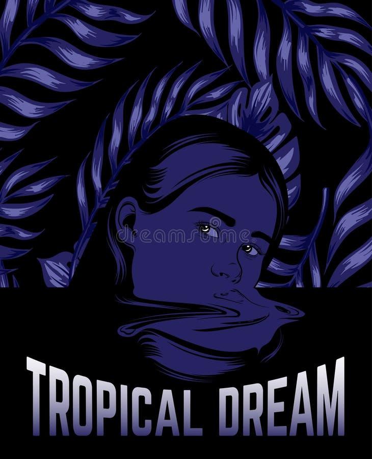 Sogno tropicale Vector l'illustrazione disegnata a mano della ragazza nello stile surrealista royalty illustrazione gratis