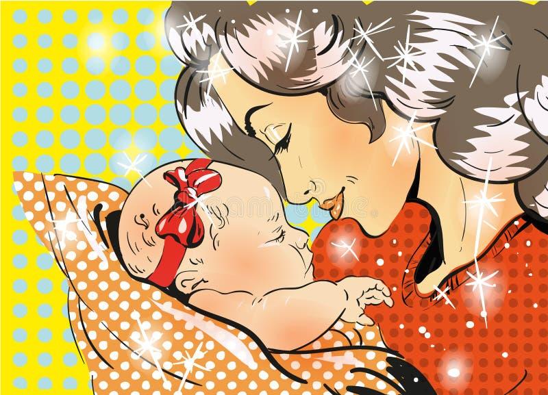 Sohn gibt der Mama eine Blume Mutter und Tochter in der Retro- komischen Art der Pop-Art Leuchte des Vektorart stock abbildung
