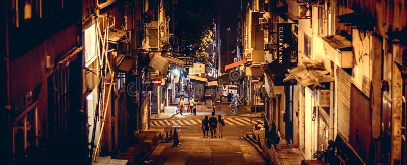 Soho, Гонконг, Китай на ноче стоковые фото