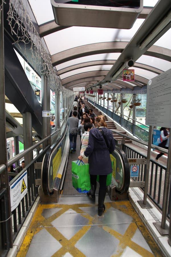 SoHo area in Hong Kong. Street escalator bridge stock photo