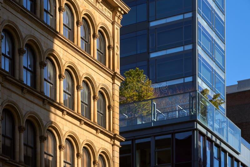 Soho building facades. New York City, Manhattan, Soho. Soho building facades with contrasting architectural styles. New York City, Manhattan, Soho stock photos